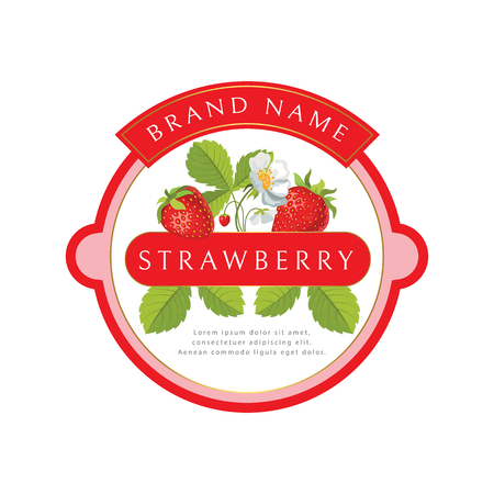 Round label with strawberries, can be used for jams, cosmetics, and other packing design. Vector illustration