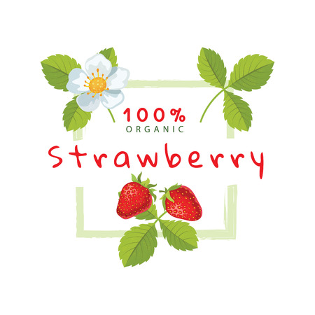 Label with strawberries, can be used for jams, cosmetics and other packing design. Vector illustration Banque d'images - 124610470