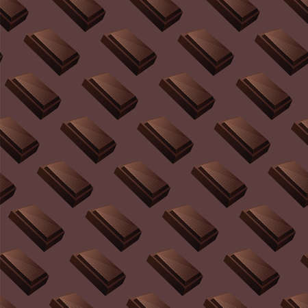 Seamless vector pattern with slices of milk and dark chocolate