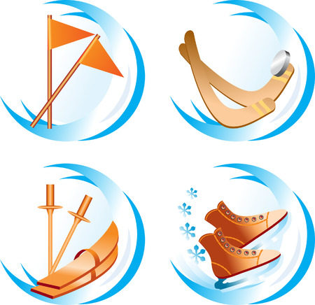 Four winter sport icons Vector