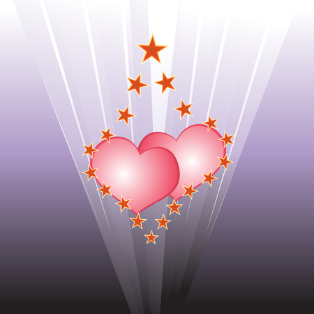 Hearts in light Vector