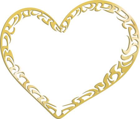 fondness: Gold metal heart Illustration