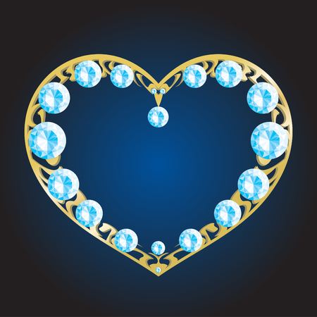 Gold metal heart with diamonds Illustration