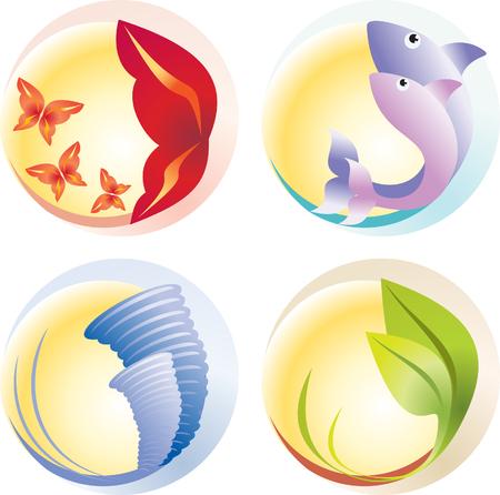 cuatro elementos: Cuatro elementos - fuego, agua, aire, suelo