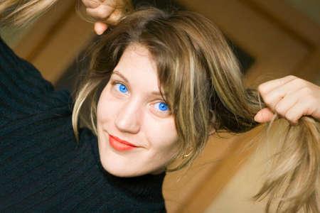 Fun blue eyes woman Stock Photo - 2701653
