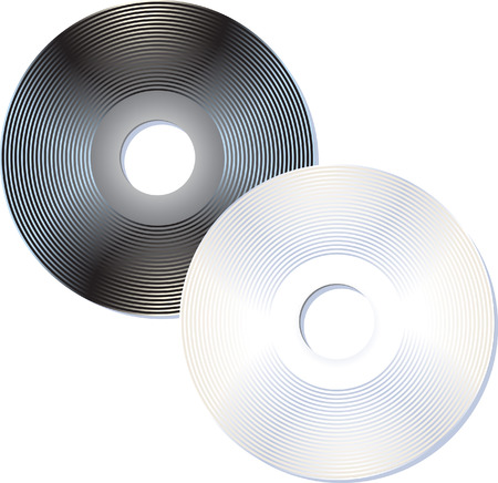 Black and white compact disks Illustration