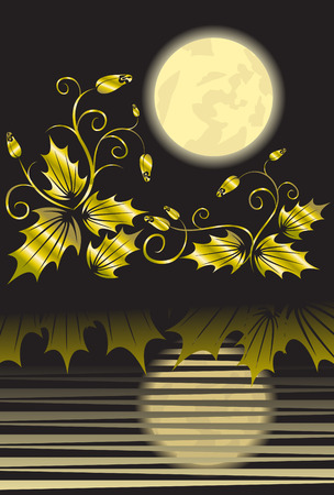 reflexe: Beauty Floral background with moon and water reflex Illustration