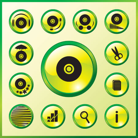 inet: Elegance glass music compact disks icons