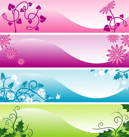 Color web floral banners
