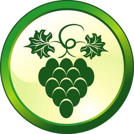 leaf logo: Floral grape glass button Illustration