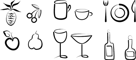 Hand draw objects - eruit, cup, glass, bottle and plate
