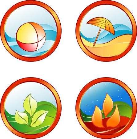 white sand beach: Summer rest icons Illustration