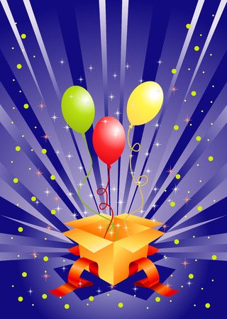 Holiday box with gift balloons Vector