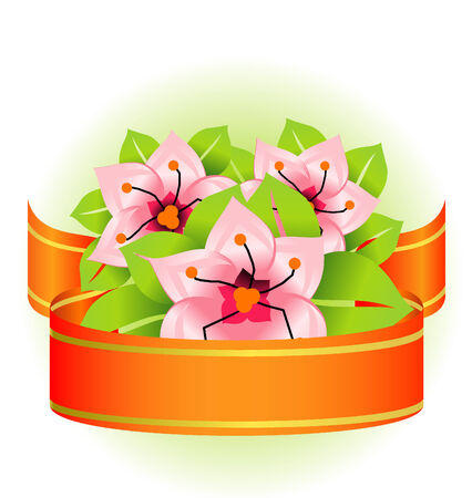 Floral ribbon illustration Vector