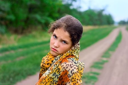 Portrait girl on nature for your design photo