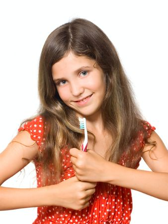 smeared hand: Beauty teen girl with toothbrush isolated on white Stock Photo