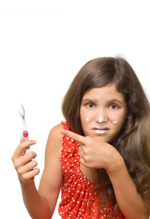 smeared hand: Beauty teen girl with toothbrush isolated on white for your design Stock Photo