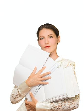 heir: Woman with paper isolated on white