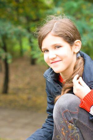 Lovely beautiful teen girl outdoor Stock Photo