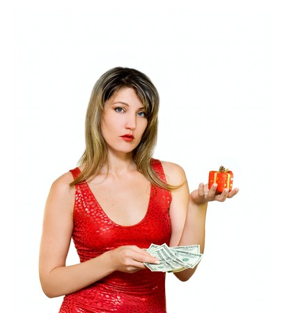 Sad Woman with money and gift isolated on white photo