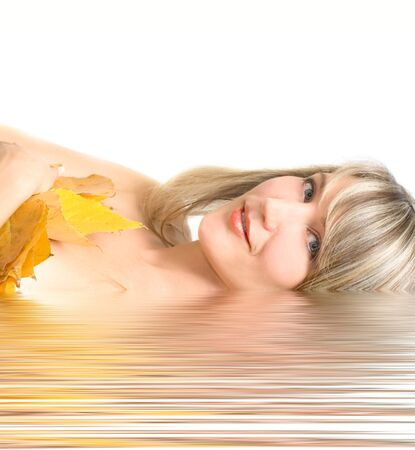 Portrait young woman with fall leafs isolated on white Stock Photo - 4168110