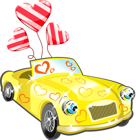 procession: Car with hearts cartoon for your design