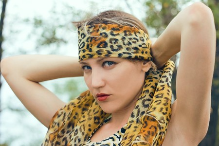 frontlet: Woman in wood for your design