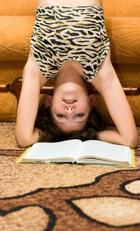 upside down: Lovely Teen girl want not read book
