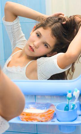 Teen young girl in bathroom