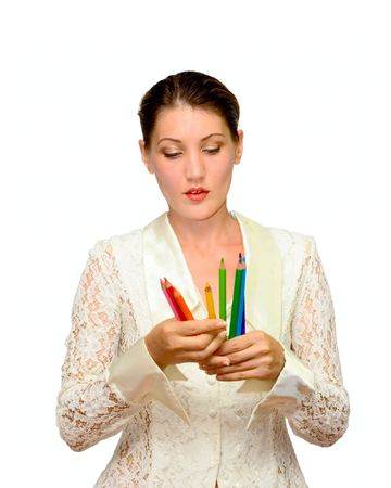 Portrait woman with color pencils isolated on white photo
