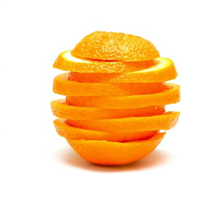 Orange from segments isolated on white
