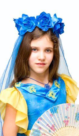 Beautiful teen girl  isolated on white photo