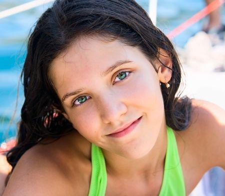 cute teen girl: Portrait of cute teen girl in swimsuit