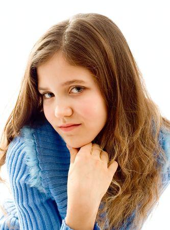 cute teen girl: Portrait of cute teen girl isolated on white