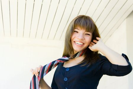 nominally: Portrait smile girl with necktie