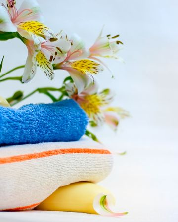 Soap, towel and flower background Stock Photo - 5880723