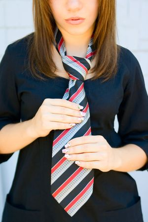 Portrait girl with necktie for your design