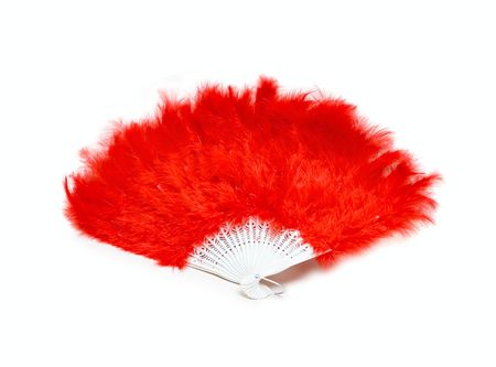 A feather red fan isolated on white