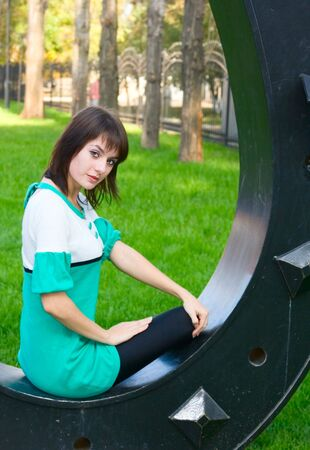 Portrait young girl outdoor in park Stock Photo - 6146004