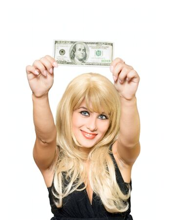 honorarium: Blonde young girl with money isolated on white