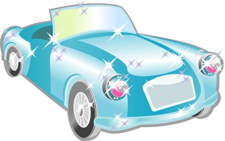 Blue car cartoon for your design