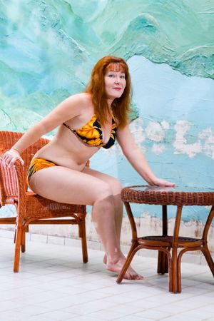 Portrait pretty old woman in bathing suit Stock Photo - 6453681