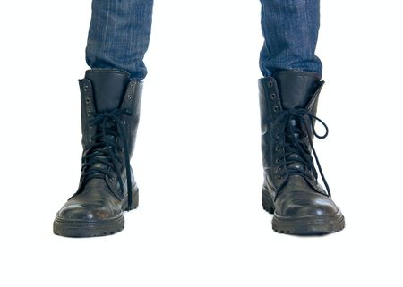 Two feet in big black boots