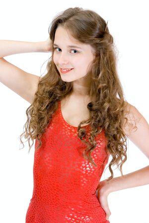 Lovely teen smile girl in red dress Stock Photo - 6814038