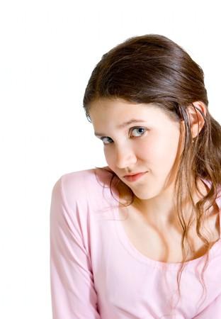 Lovely teen girl isolated on white photo