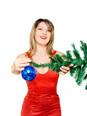 Woman with holiday decoration isolated on white photo