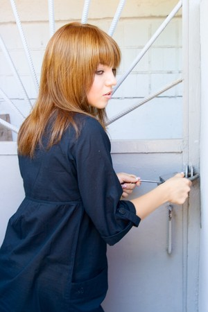 nominally: Portrait pretty girl closed door