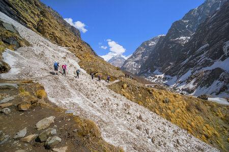 Trekker in Annapurna base camp, Nepal