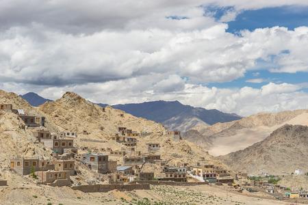 tibetan house: Traditional Tibetan house style, Leh, Ladakh, India Stock Photo