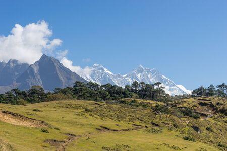 everest: Everest and Lhotse mountain landscape, Everest region Stock Photo